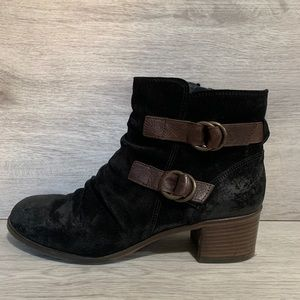 Paul Green Newbury Suede Slouch Buckle Ankle Boots